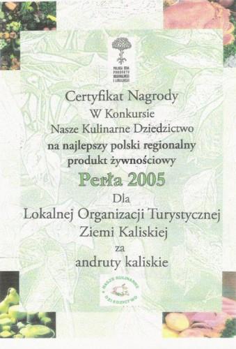 perła 2005 certyfikat